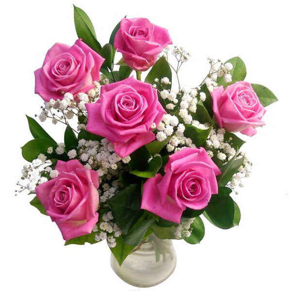6 Pink Roses Bouquet
