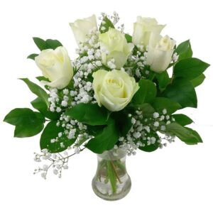 6 White Roses Bouquet